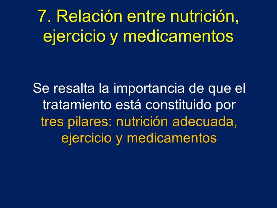 7. Relación entre nutrición, ejercicio y medicamentos