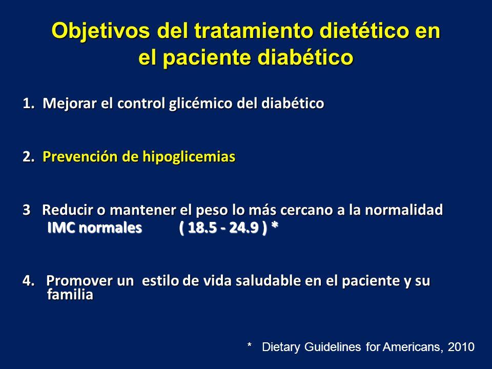 Objetivos del tratamiento dietético en el paciente diabético