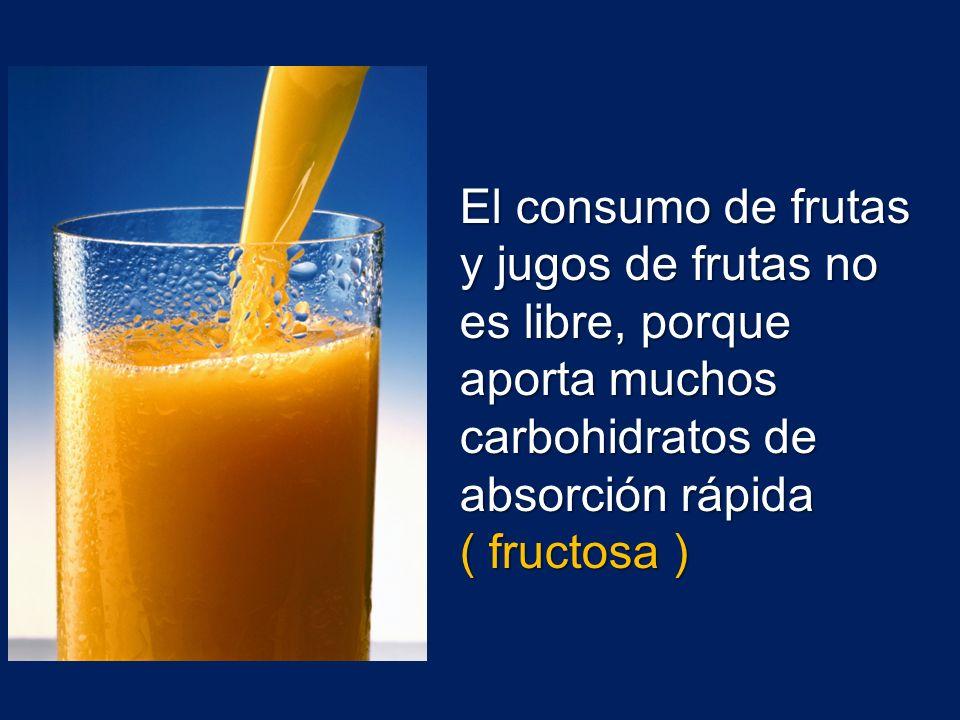 El consumo de frutas y jugos de frutas no es libre, porque aporta muchos carbohidratos de absorción rápida ( fructosa )