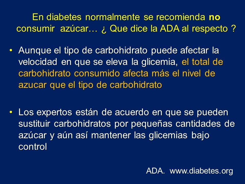 En diabetes normalmente se recomienda no consumir azúcar… ¿ Que dice la ADA al respecto
