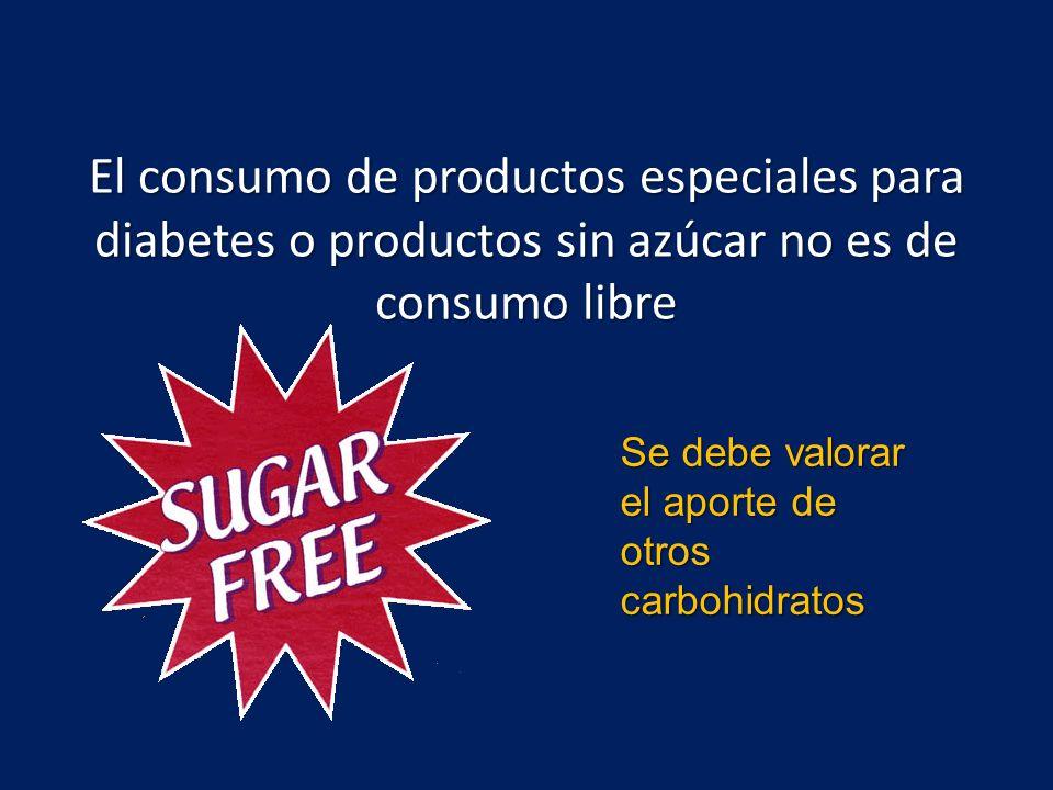 El consumo de productos especiales para diabetes o productos sin azúcar no es de consumo libre