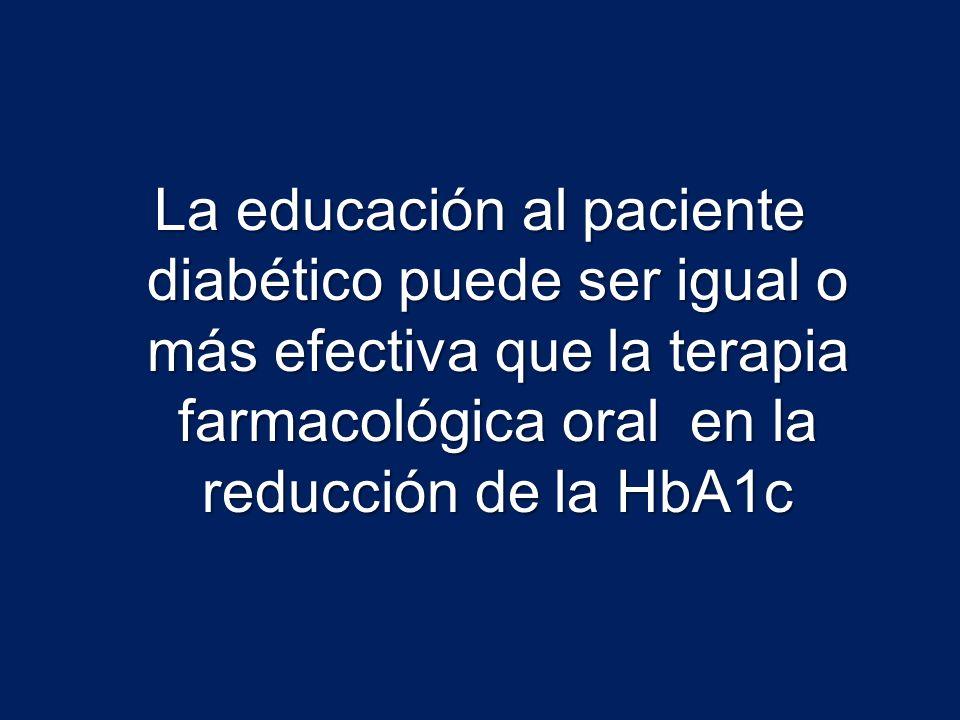 La educación al paciente diabético puede ser igual o más efectiva que la terapia farmacológica oral en la reducción de la HbA1c