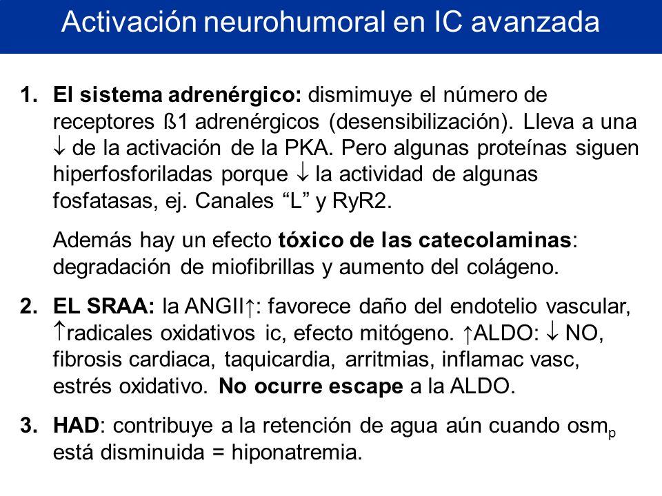 Activación neurohumoral en IC avanzada