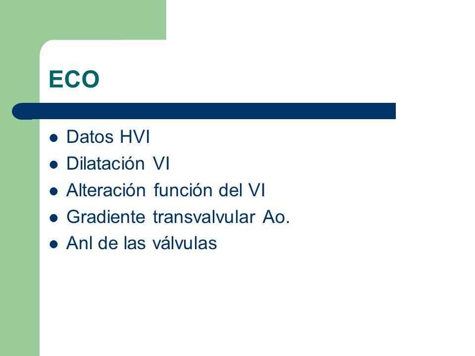 ECO Datos HVI Dilatación VI Alteración función del VI
