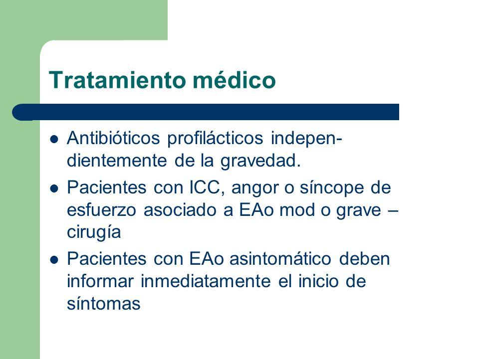 Tratamiento médico Antibióticos profilácticos indepen-dientemente de la gravedad.