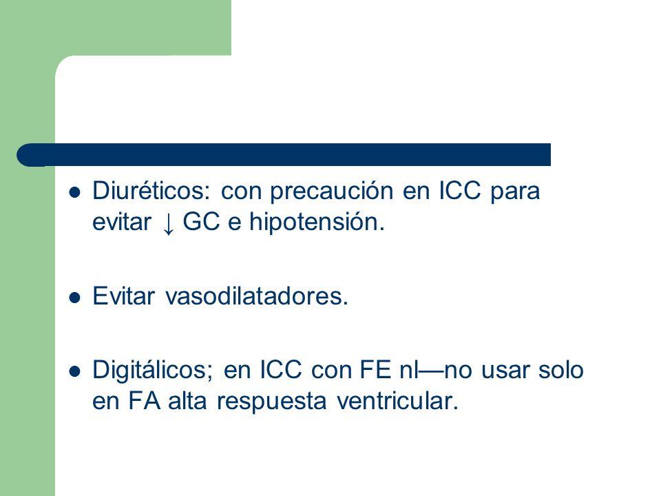 Diuréticos: con precaución en ICC para evitar ↓ GC e hipotensión.