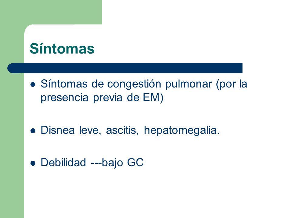 Síntomas Síntomas de congestión pulmonar (por la presencia previa de EM) Disnea leve, ascitis, hepatomegalia.