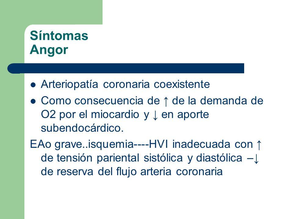 Síntomas Angor Arteriopatía coronaria coexistente