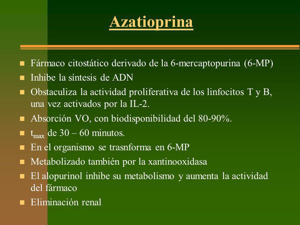 Azatioprina Fármaco citostático derivado de la 6-mercaptopurina (6-MP)