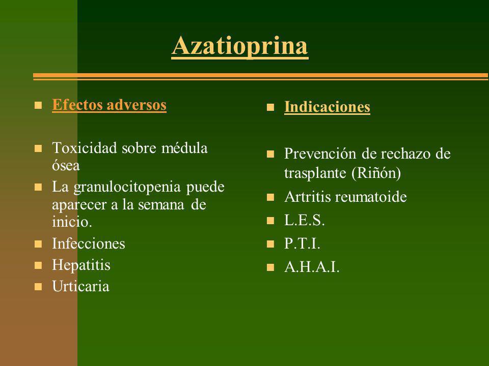 Azatioprina Efectos adversos Toxicidad sobre médula ósea