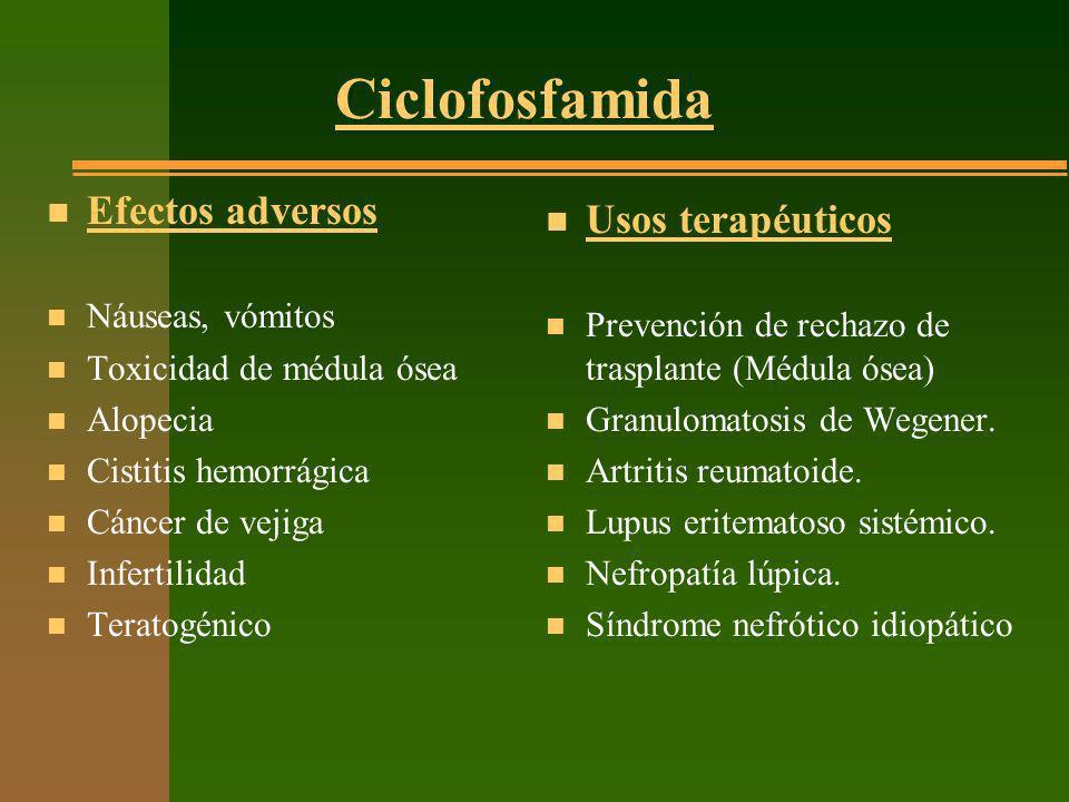 Ciclofosfamida Efectos adversos Usos terapéuticos Náuseas, vómitos