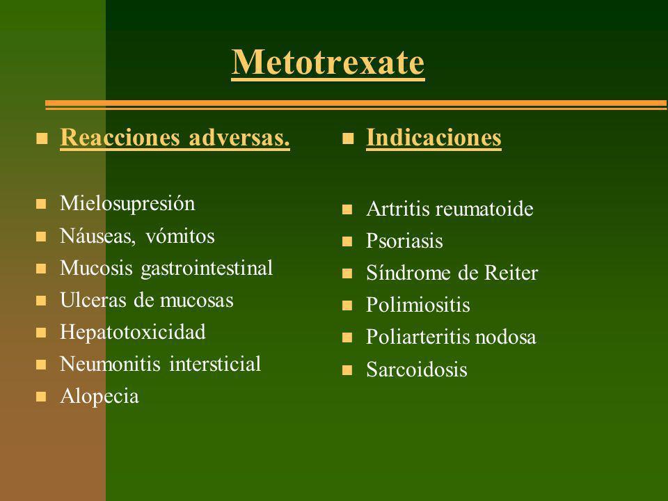 Metotrexate Reacciones adversas. Indicaciones Mielosupresión