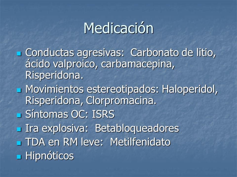 Medicación Conductas agresivas: Carbonato de litio, ácido valproico, carbamacepina, Risperidona.