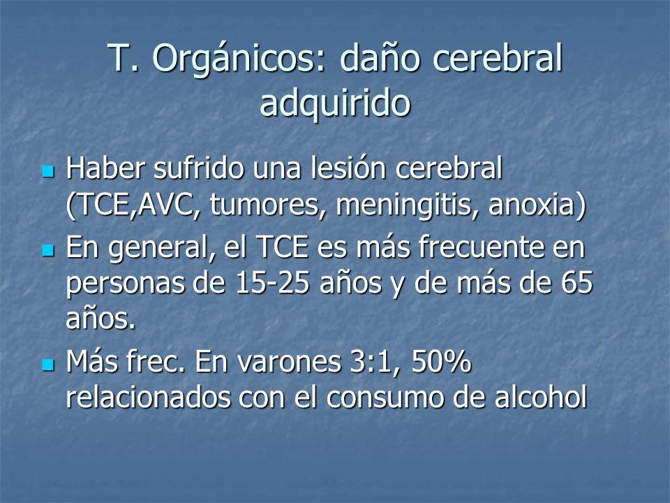 T. Orgánicos: daño cerebral adquirido