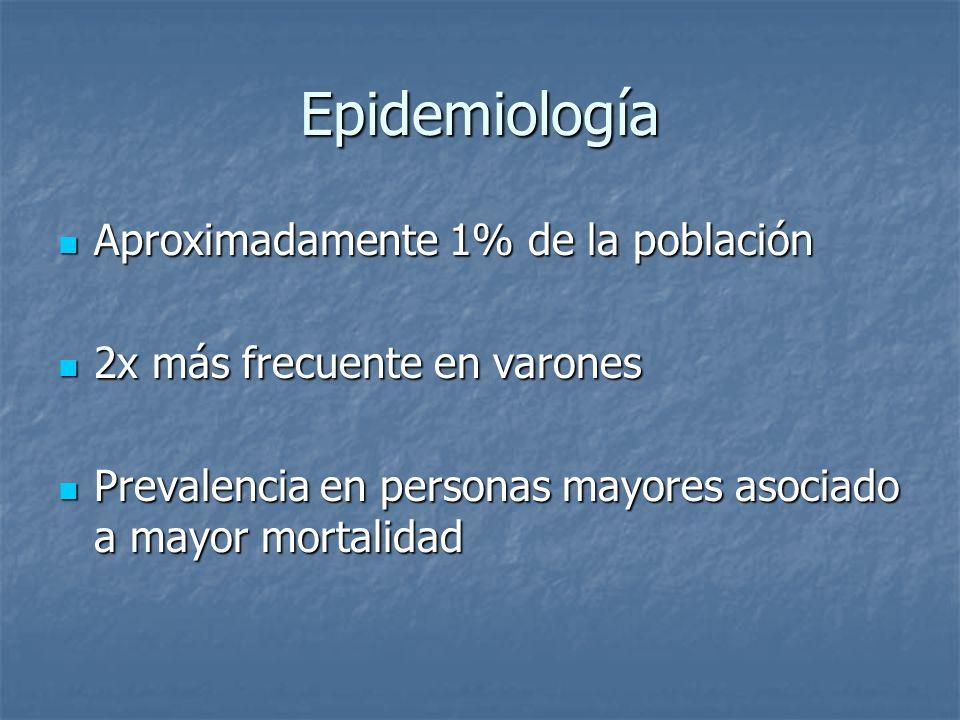 Epidemiología Aproximadamente 1% de la población