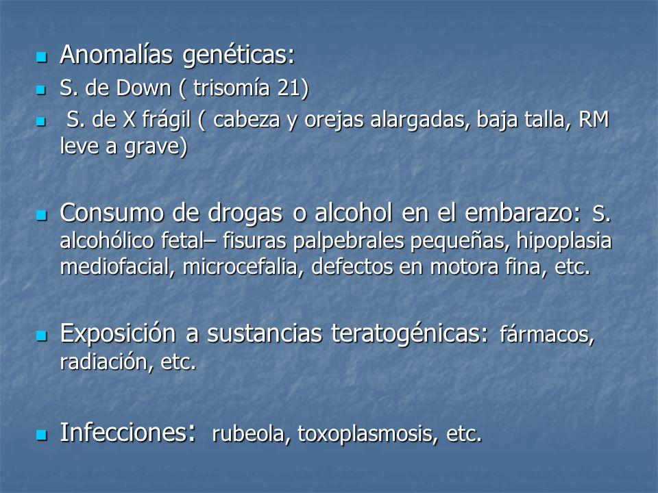 Exposición a sustancias teratogénicas: fármacos, radiación, etc.