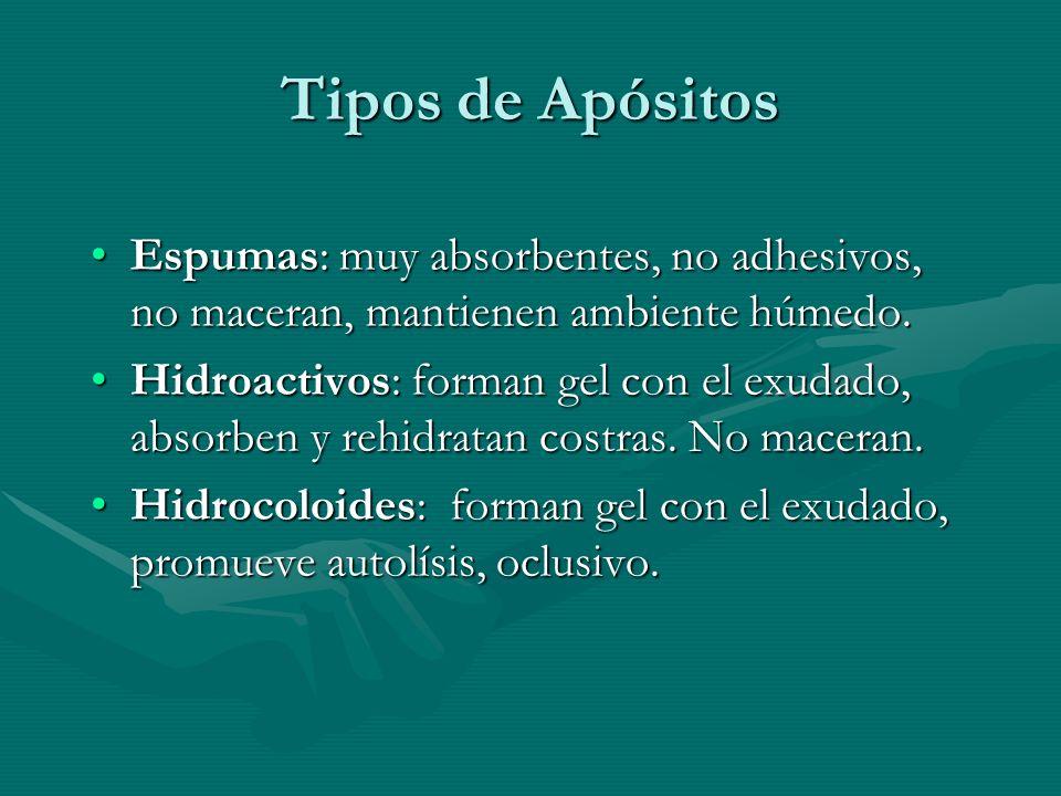 Tipos de Apósitos Espumas: muy absorbentes, no adhesivos, no maceran, mantienen ambiente húmedo.