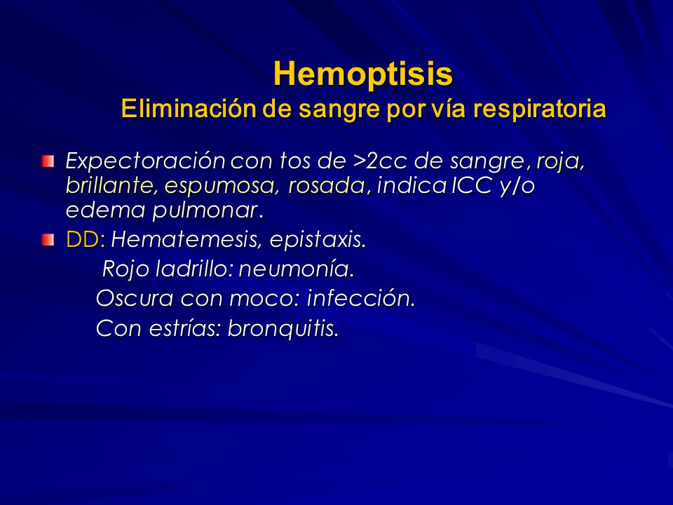 Hemoptisis Eliminación de sangre por vía respiratoria