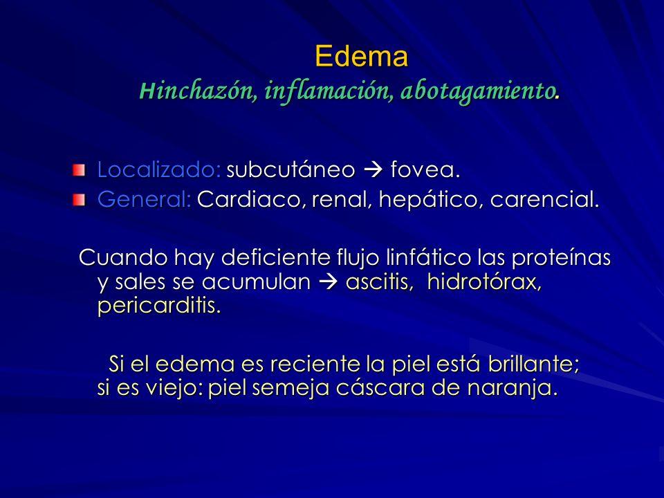 Edema Hinchazón, inflamación, abotagamiento.