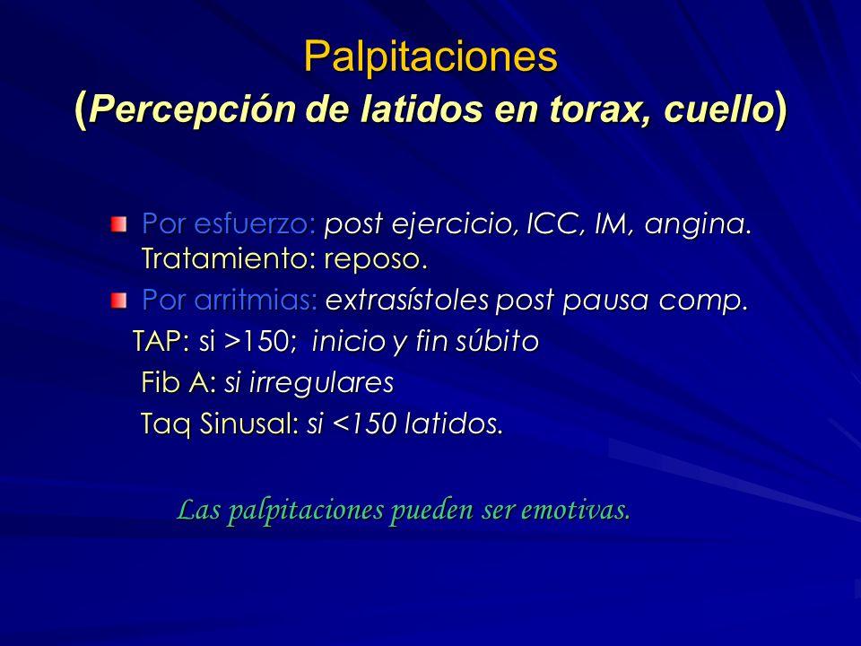 Palpitaciones (Percepción de latidos en torax, cuello)