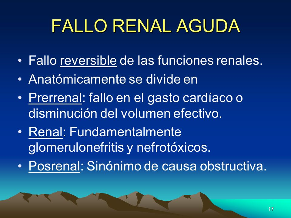 FALLO RENAL AGUDA Fallo reversible de las funciones renales.
