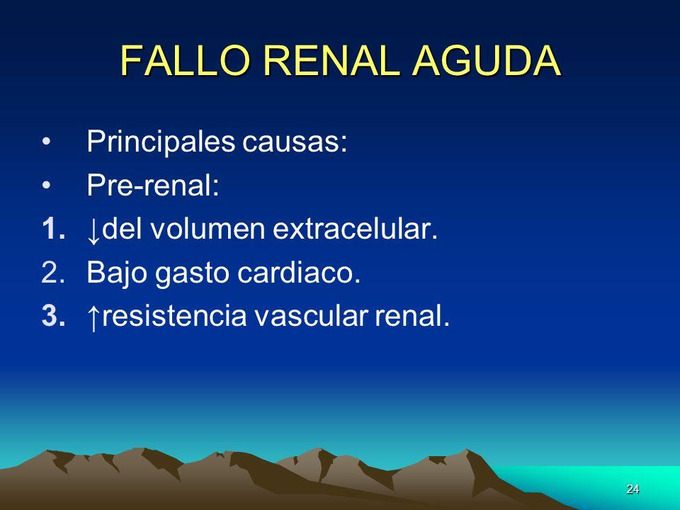 FALLO RENAL AGUDA Principales causas: Pre-renal: