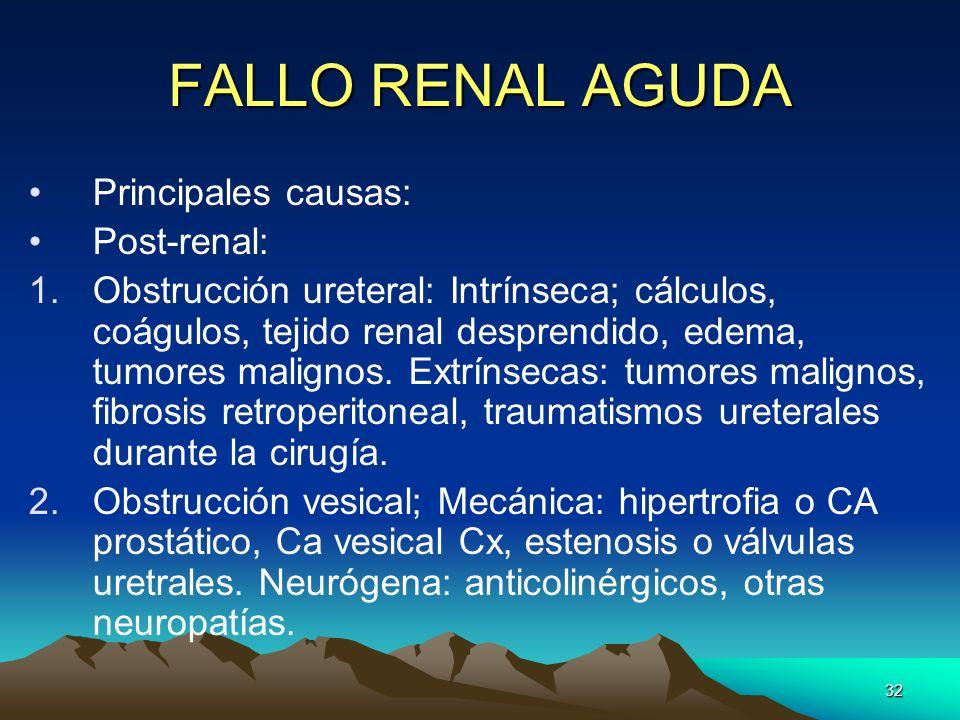 FALLO RENAL AGUDA Principales causas: Post-renal: