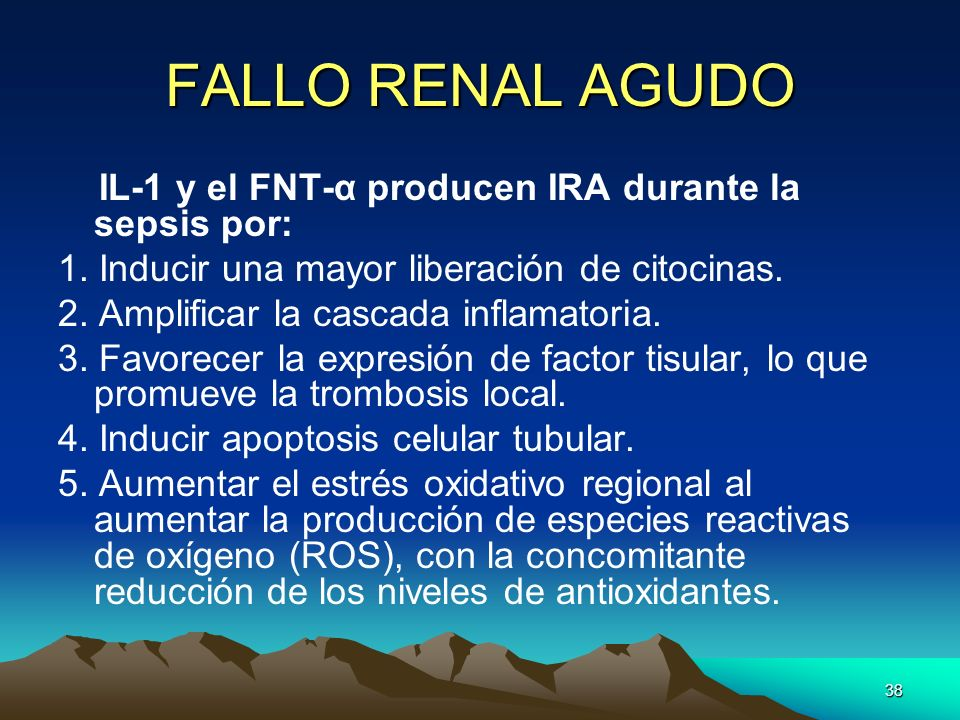 FALLO RENAL AGUDO IL-1 y el FNT-α producen IRA durante la sepsis por: