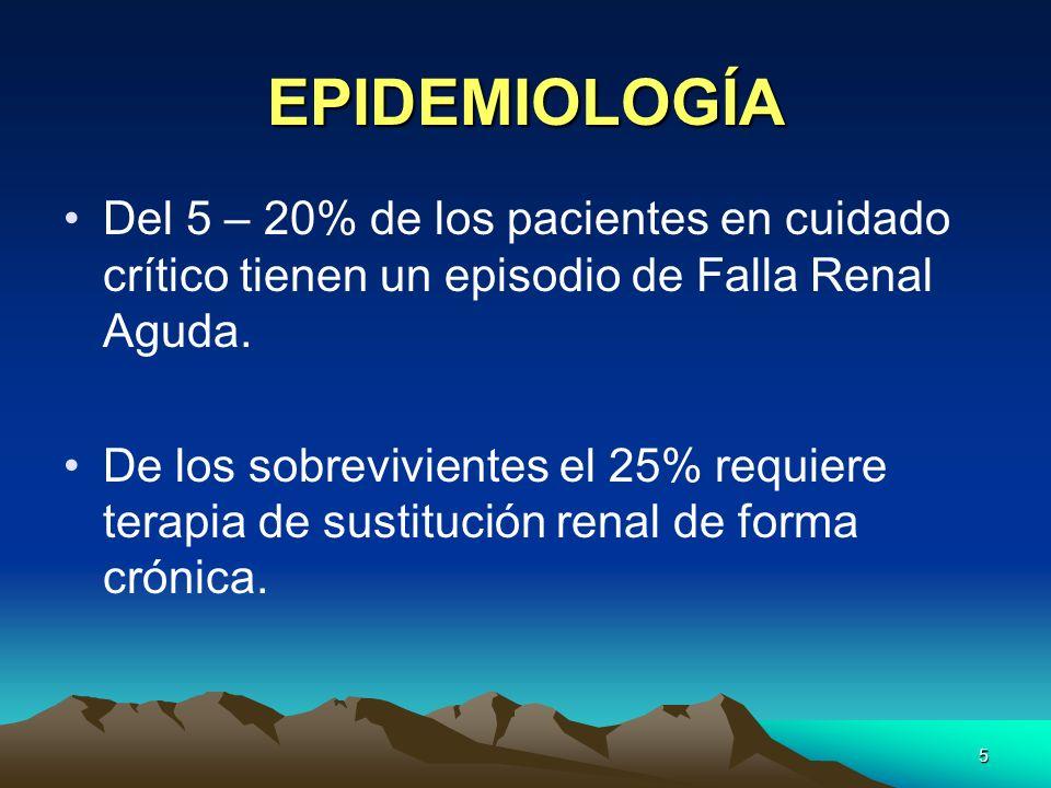 EPIDEMIOLOGÍA Del 5 – 20% de los pacientes en cuidado crítico tienen un episodio de Falla Renal Aguda.