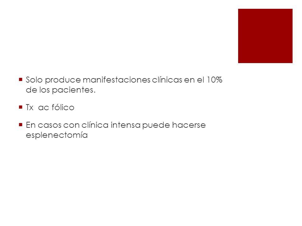 Solo produce manifestaciones clínicas en el 10% de los pacientes.