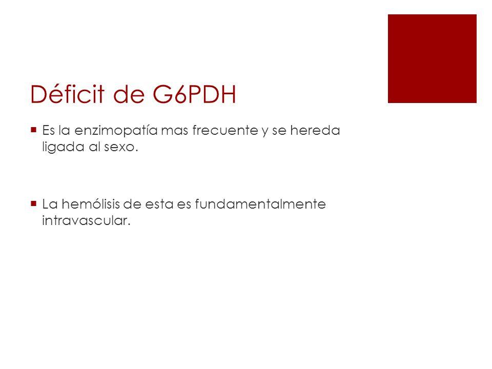 Déficit de G6PDHEs la enzimopatía mas frecuente y se hereda ligada al sexo.