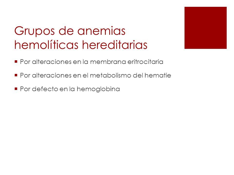 Grupos de anemias hemolíticas hereditarias
