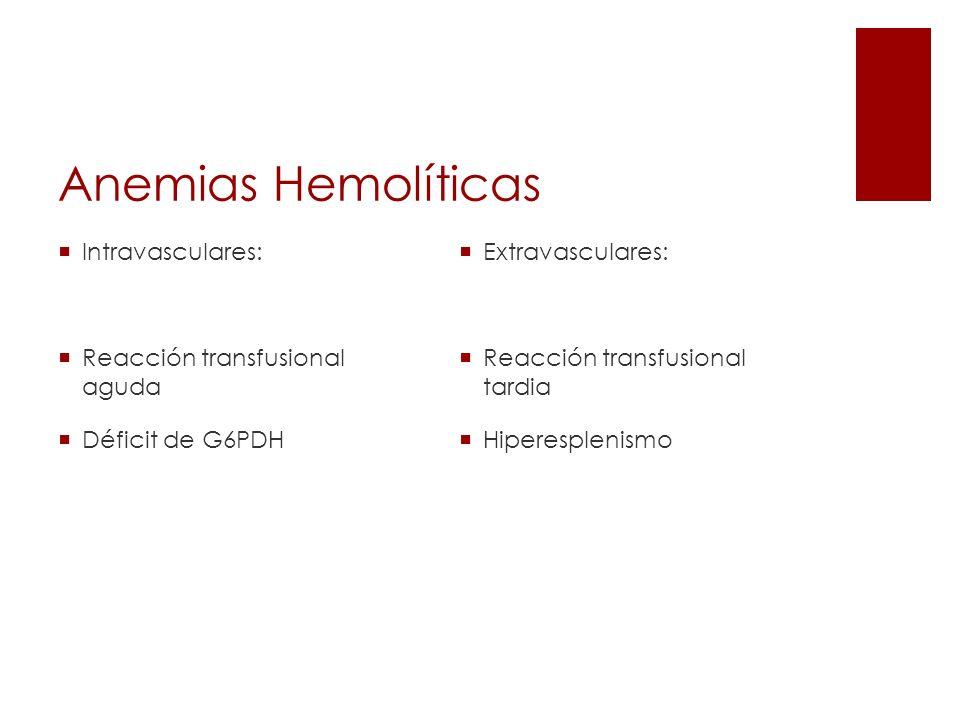 Anemias Hemolíticas Intravasculares: Reacción transfusional aguda
