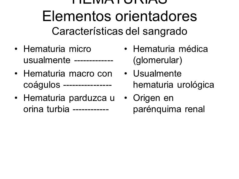 HEMATURIAS Elementos orientadores Características del sangrado