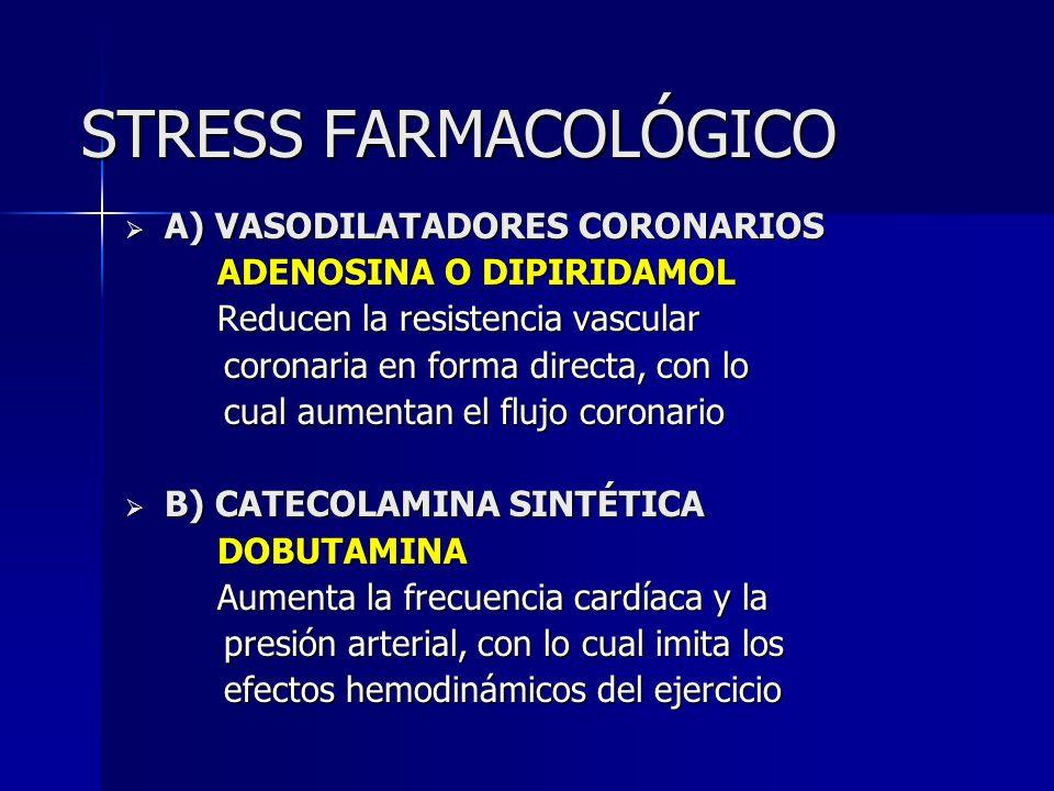 STRESS FARMACOLÓGICO A) VASODILATADORES CORONARIOS