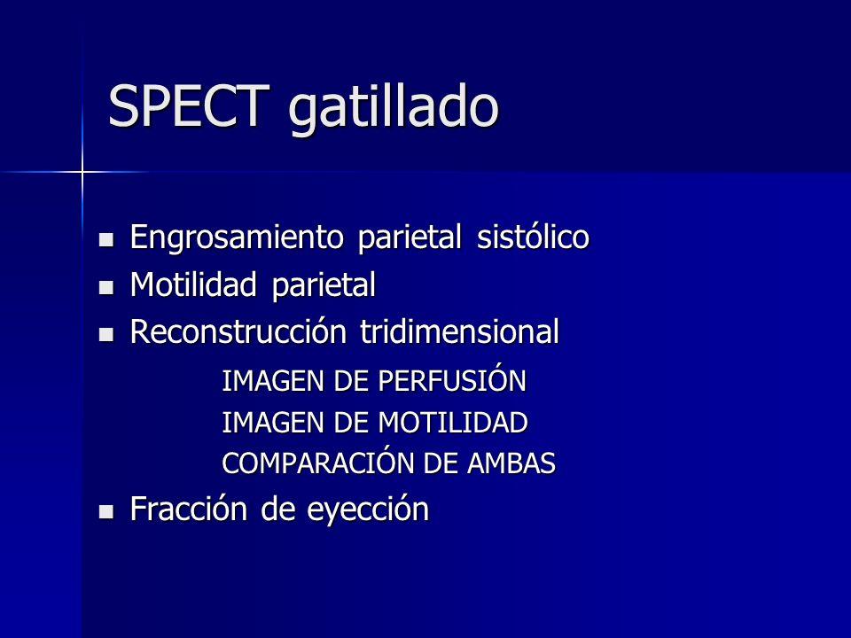 SPECT gatillado Engrosamiento parietal sistólico Motilidad parietal