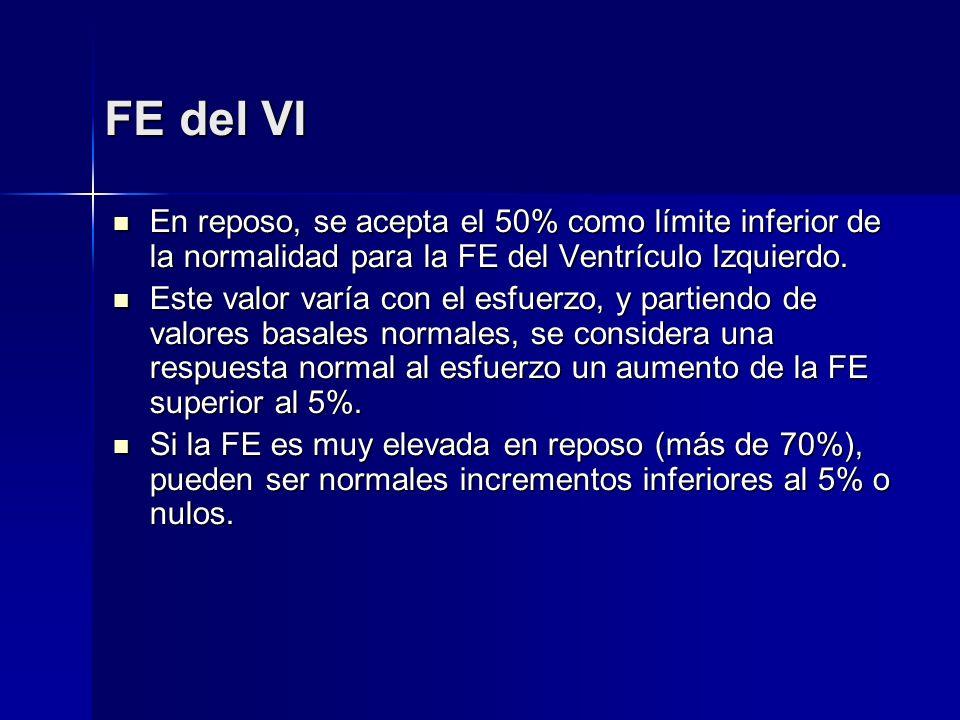 FE del VI En reposo, se acepta el 50% como límite inferior de la normalidad para la FE del Ventrículo Izquierdo.