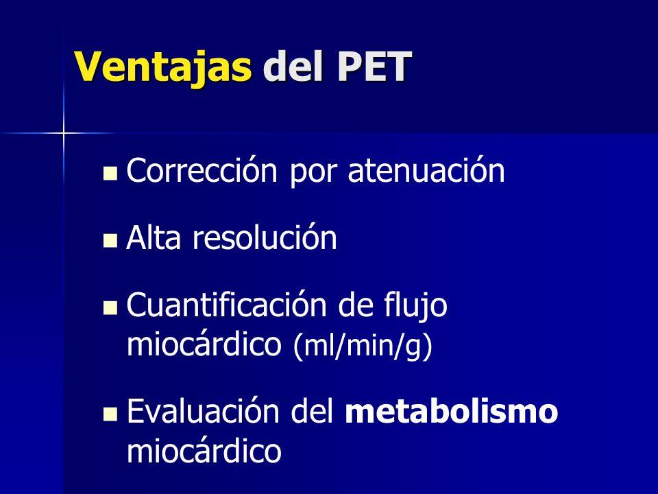 Ventajas del PET Corrección por atenuación Alta resolución