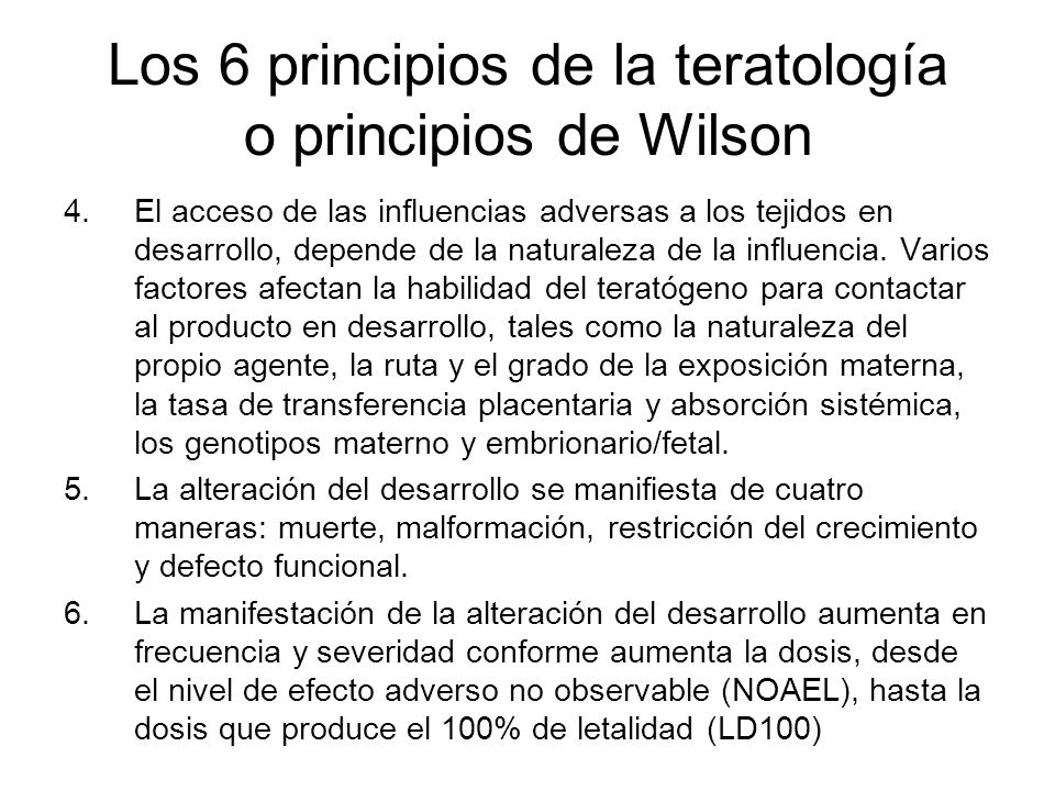 Los 6 principios de la teratología o principios de Wilson
