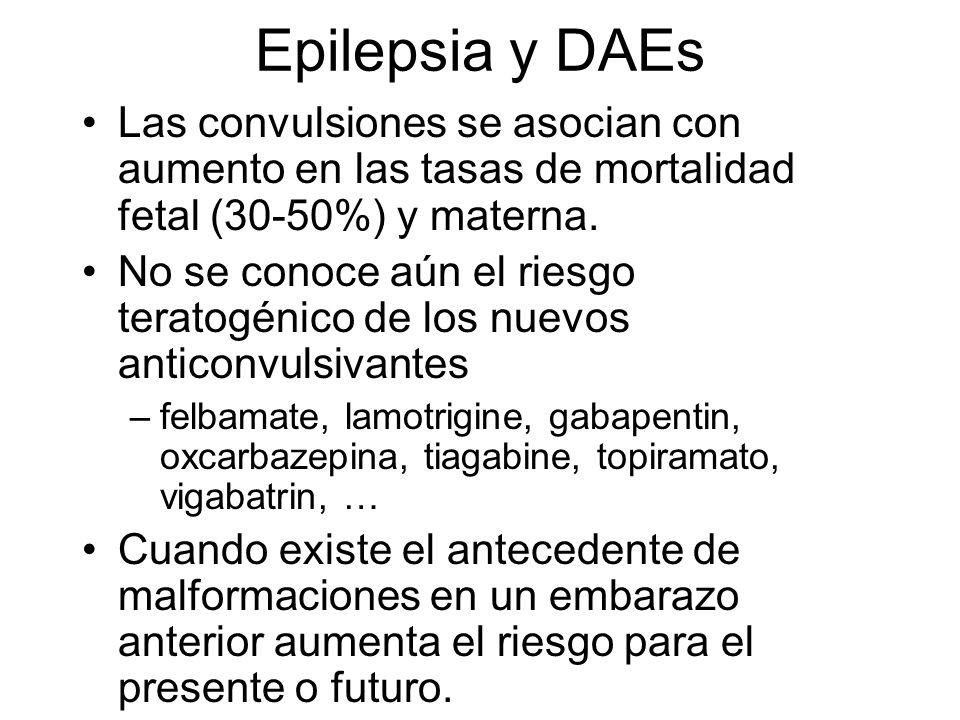 Epilepsia y DAEs Las convulsiones se asocian con aumento en las tasas de mortalidad fetal (30-50%) y materna.