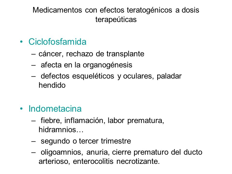 Medicamentos con efectos teratogénicos a dosis terapeúticas