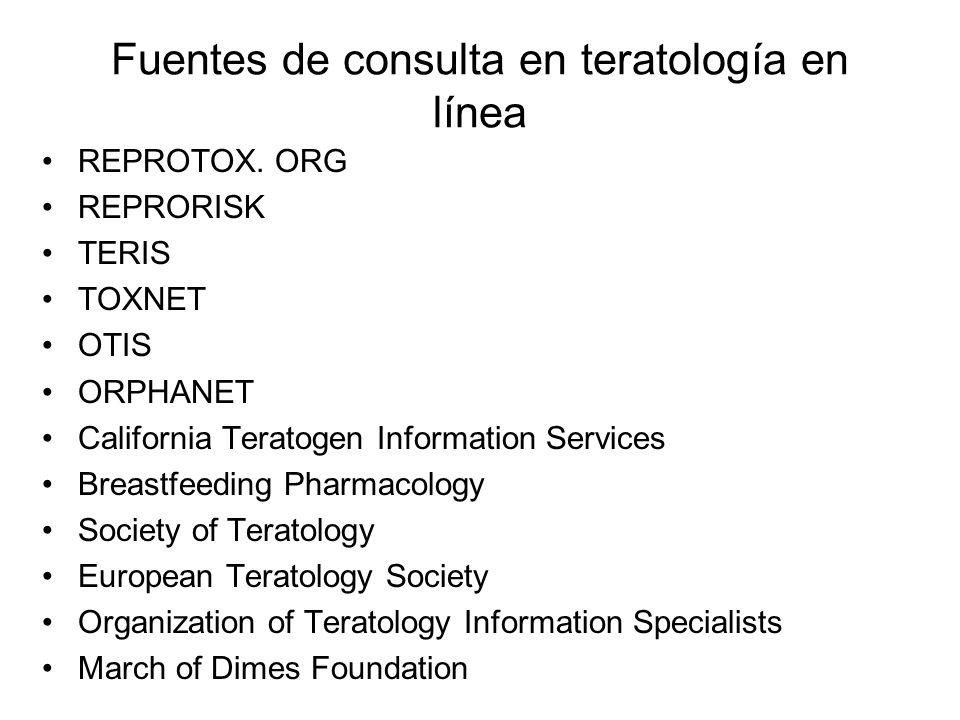 Fuentes de consulta en teratología en línea
