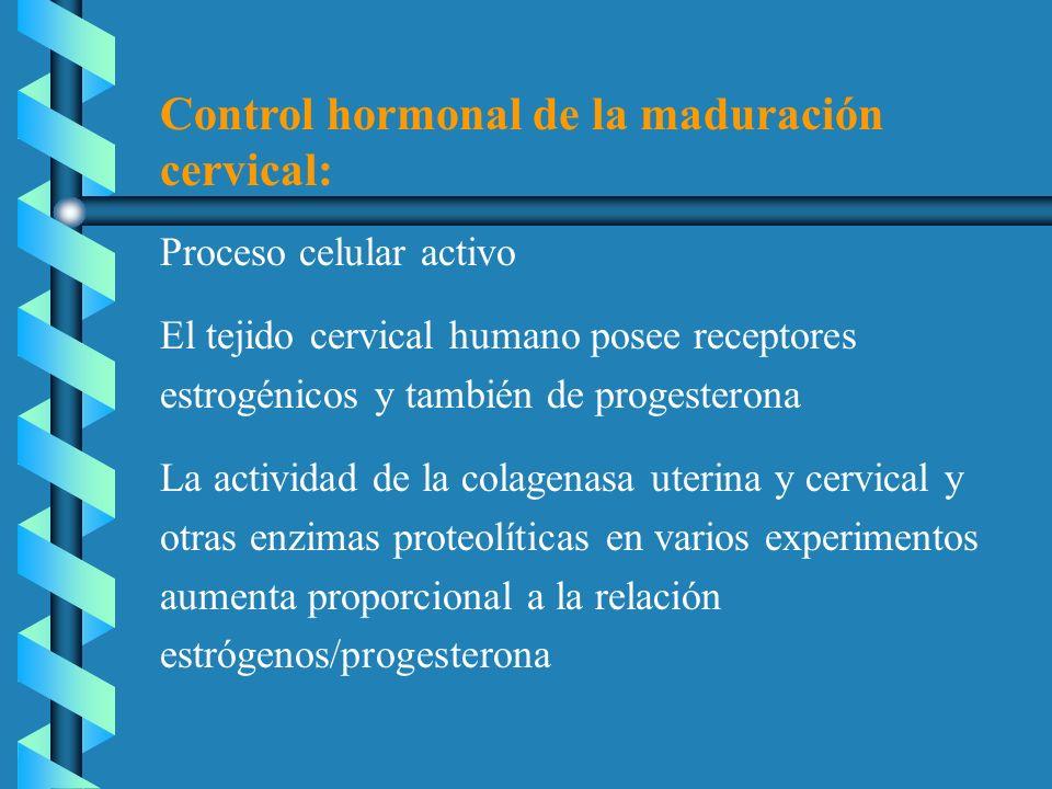 Control hormonal de la maduración cervical:
