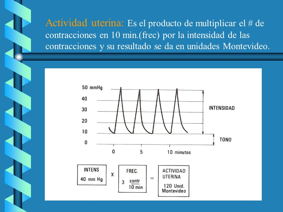 Actividad uterina: Es el producto de multiplicar el # de contracciones en 10 min.(frec) por la intensidad de las contracciones y su resultado se da en unidades Montevideo.
