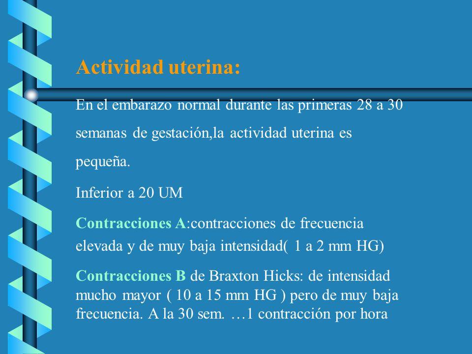 Actividad uterina: En el embarazo normal durante las primeras 28 a 30 semanas de gestación,la actividad uterina es pequeña.