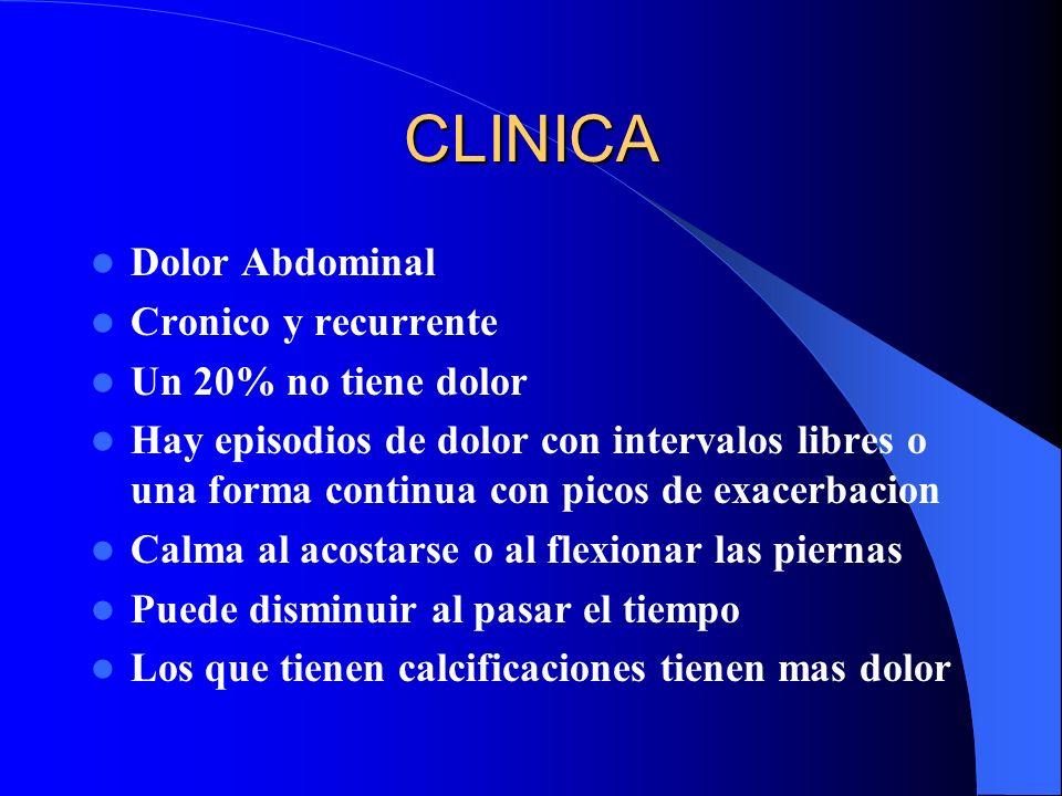 CLINICA Dolor Abdominal Cronico y recurrente Un 20% no tiene dolor