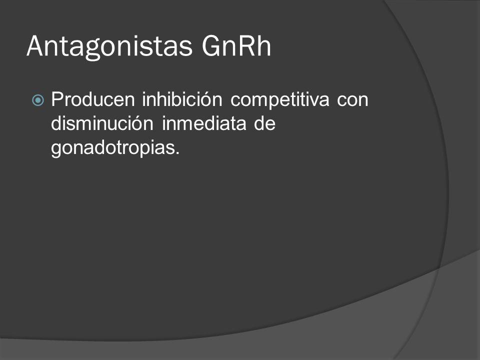 Antagonistas GnRh Producen inhibición competitiva con disminución inmediata de gonadotropias.