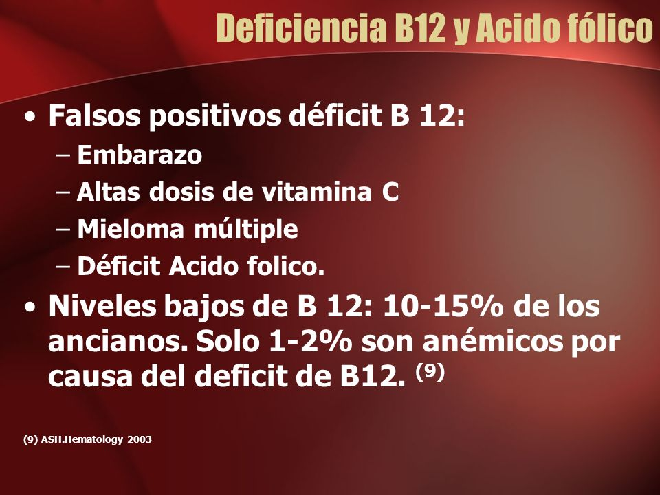 Deficiencia B12 y Acido fólico