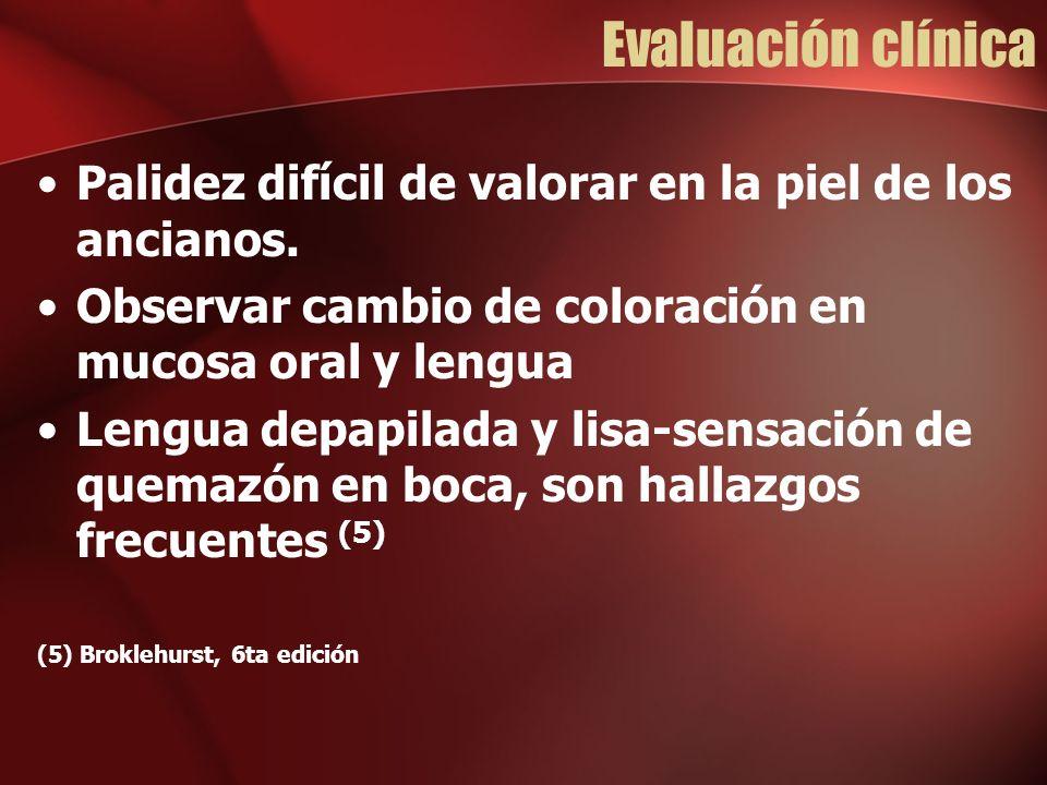 Evaluación clínica Palidez difícil de valorar en la piel de los ancianos. Observar cambio de coloración en mucosa oral y lengua.