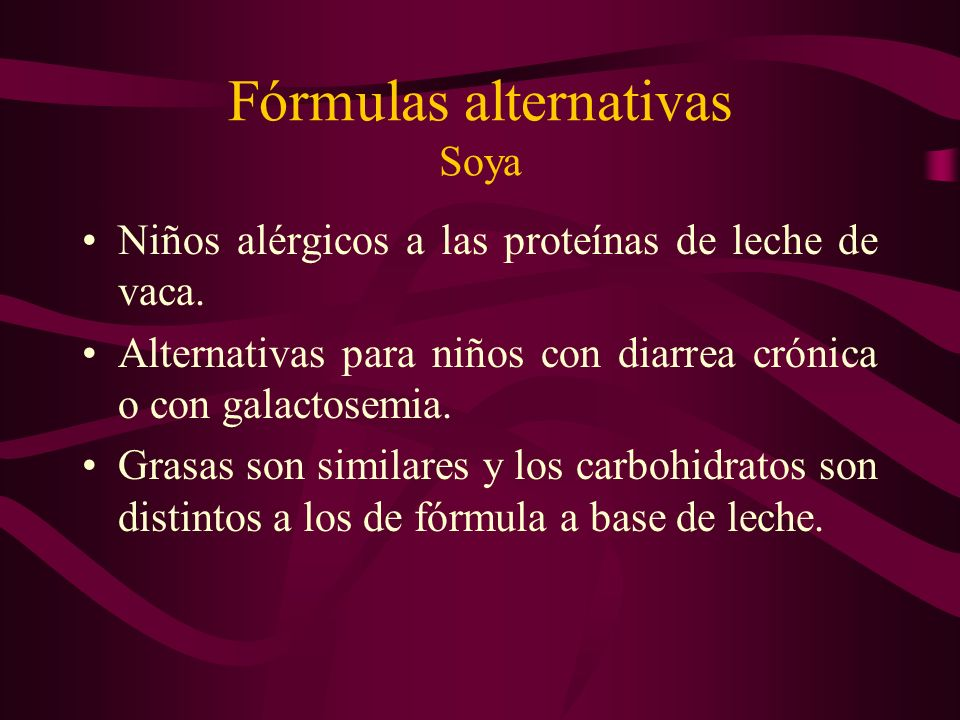 Fórmulas alternativas Soya